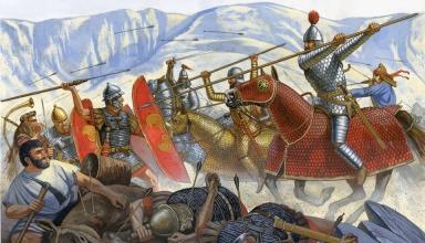 حمله سواره نظام سنگین اسلحه پارتی به لژیون های رومی
