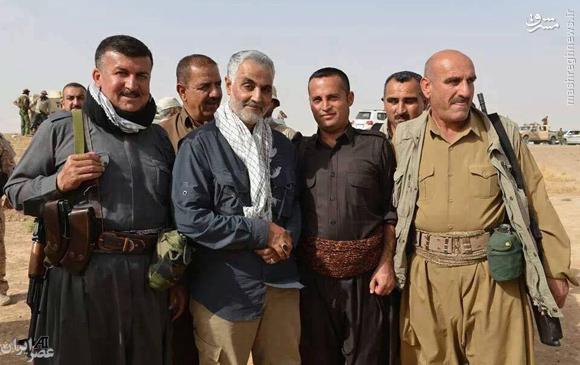 تصویر حاج قاسم سلیمانی سردار بزرگ ایرانی در کنار پیشمرگه ها کرد