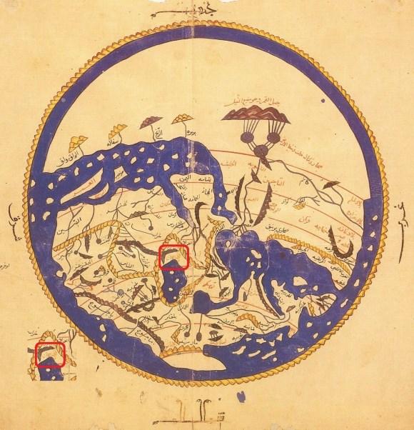سند شماره پنج : تصویری از نقشه جهان ترسیم شده توسط الشریف الادریسی یکی از سه جغرافیدان بزرگ عربِ قرن 12 میلادی در کتاب نزهة المشتاق فی اختراق الآفاق ، نام آذربایجان در تصویر با کادر قرمز رنگ مشخص شده است.( 3 )