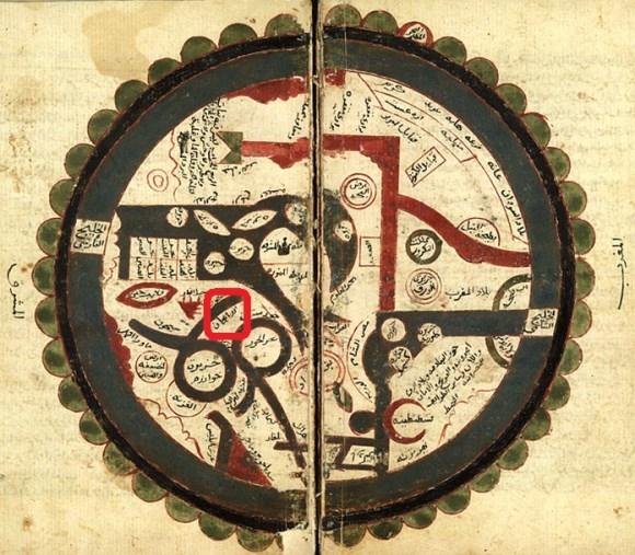سند شماره شش : تصویری از نقشه جهان ترسیم شده توسط عمر بن مظفر بن عمر ابن الوردی معروف به ابن الوردی جغرافیدان بنام قرن 14 میلادی ، نام آذربایجان در تصویر با کادر قرمز رنگ مشخص شده است. ( 4 )