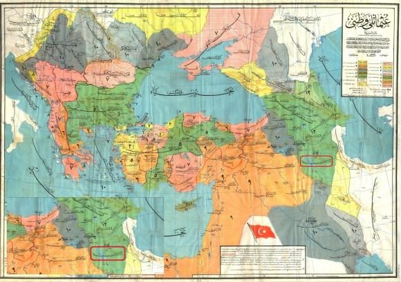 سند شماره هشت : تصویر نقشه ای متعلق به آرشیو دولتی نخست وزیری جمهوری ترکیه بخش عثمانی و مربوط به سال ۱۳۳۳ هجری قمری برابر با ۱۹۱۱ میلادی با قدمت تحقیقی ۱۰۱ سال ، نام آذربایجان در تصویر با کادر قرمز رنگ مشخص شده است. ( 5 )