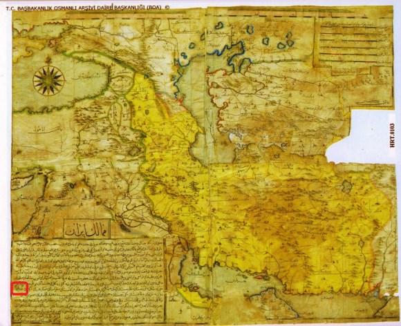 سند شماره نه : تصویر نقشه ای متعلق به آرشیو دولتی نخست وزیری جمهوری ترکیه بخش عثمانی و مربوط به حدود جغرافیایی ایرانزمین ، نام آذربایجان در تصویر با کادر قرمز رنگ مشخص شده است. ( 5 )
