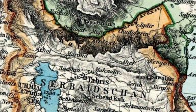 موقعیت آذربایجان در نقشهٔ ایران و توران در دورهٔ قاجاریه.