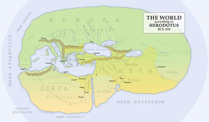 نقشه بازسازی شده هرودوت در ۴۵۰ میلادی که سرزمین مادها را در کنار رودخانه ارس نشان میدهد (این نقشه در ۱۸۹۵ بازسازی شدهاست).