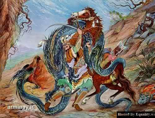 اژدها در نگارگی ایرانی - نبرد رستم با اژدها