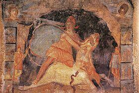 آفرینش، پس از غلبه ی میترا بر گاو و ذبح حیوان مقدس برای رویش و زایش.