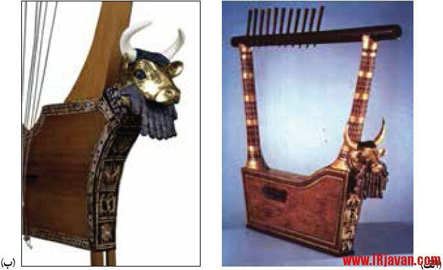 گاو در تمدن بین النهرین گاو با تزئینات و جزئیات ظریف در چنگ اور